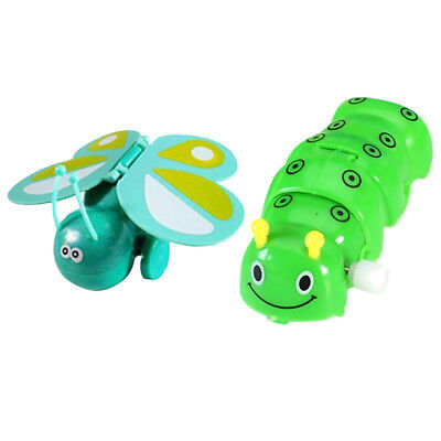 2Pcs Plastic Wind-Up Caterpillar & Butterfly Model Toy for Kids Party Filler