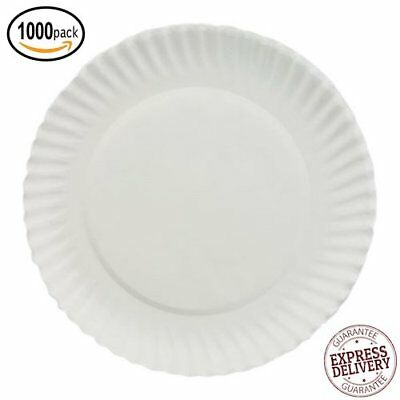 Disposable White Paper Plates Picnic Dinner Party Microwavable Recyclable 1000ct  sc 1 st  PicClick & 225 PLATES) PAPER Plates 8 3/4\