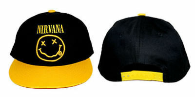 b7546f3b506 (RARE) Official NIRVANA Logo Smile Smiley Face Snapback Hat Adjustable Cap