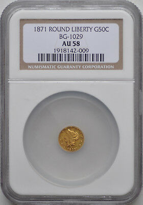 1871 G50C California Round Liberty Gold Half Dollar BG-1029 NGC AU58 PL Surface