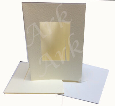 5 Card Blanks with Oval Aperture 152 x 105mm Cream//White Embossed /& Textured NEW