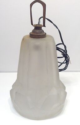 Vintage French Art Deco Frosted Glass Lamp Shade, Hanging Lamp