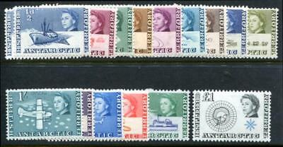 BRITISH ANTARCTIC TERRITORY (BAT) 1-15 MINT LH SHIPS, 2p no gum