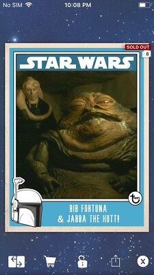 Topps Star Wars Digital Card Trader Bib Fortuna & Jabba The Hutt Prime Insert