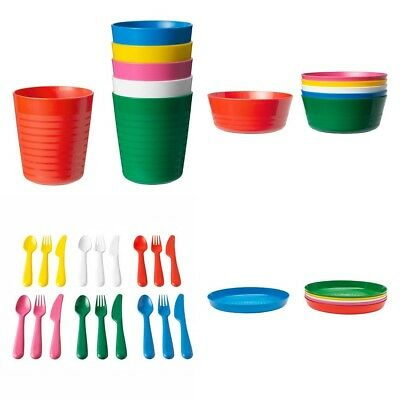 IKEA Kalas 36 piece childrens plastic bowls, cups, cutlery plates set NEW