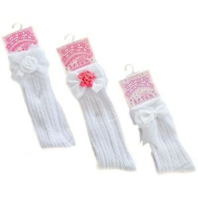 White Knee Length Baby Girl socks Spanish Romany Style by Soft Touch Ribbon Bows