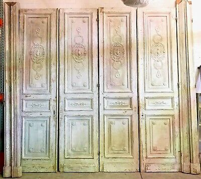 Antique French Carved Wood Doors, Two Pair