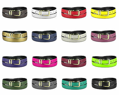 CONCITOR Reversible Belt Solid Colors & Black Bonded Leather Gold-Tone Buckle