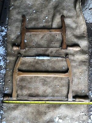 2 Vintage Antique Wooden Carpenters Bow Saw Ideal Display Oak Pub Beam Wall