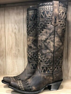 d64bb0fe0c0 CORRAL WOMEN'S DISTRESSED Brown Embroidery Tall Snip Toe Western Boots A3594