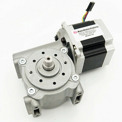 NEMA 23 Stepper Motor and Right Angle Gearbox, 8:1 Ratio, AMP 280359-0 Connector