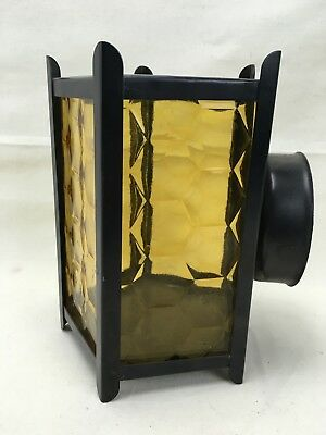 Wall Mount Amber Glass and Metal Gothic Looking Outdoor Light Housing Mount