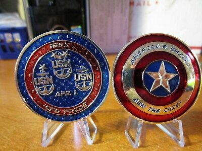 Captain America Shield Ask The Chief CPO Navy Chief USN Challenge Coin