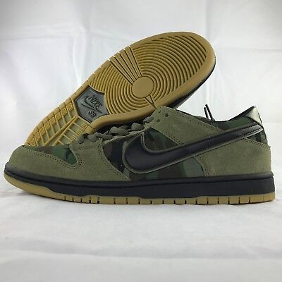f1a72037305 Nike SB Zoom Dunk Low Pro Olive Green Camo Black 854866-209 Men s 9 Skate