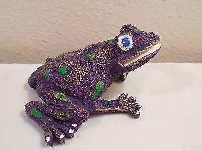 "Old Resin Frog Figurine With New Purple Paint Job ~ 2 1/2"" Tall ~ One Of A Kind"