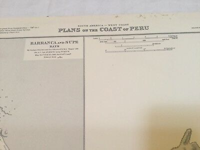 Genuine 60s Vintage Nautical Chart Plans on the Coast of Peru