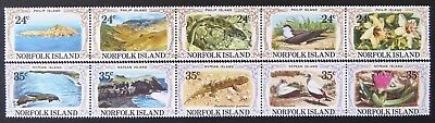 1982 Norfolk Island Stamps - Philip & Nepean Islands - Strip of 5x2 MNH