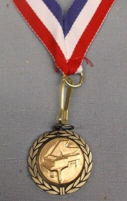 MUSIC piano gold medal award red/white/blue neck drape