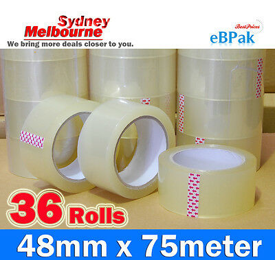 36 Roll - 45 Micron Clear - Packing Packaging Sticky Tape 75 Meter x 48mm