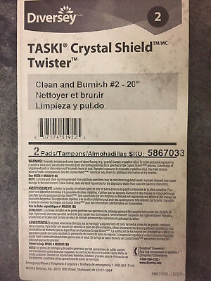 "(2) DIVERSEY Taski Twister Clean and Burnish #2 Crystal Shield 20"" 5867033 FLOOR"