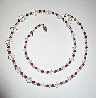 "Artistic 26"" Red and White Glass Beaded Necklace"