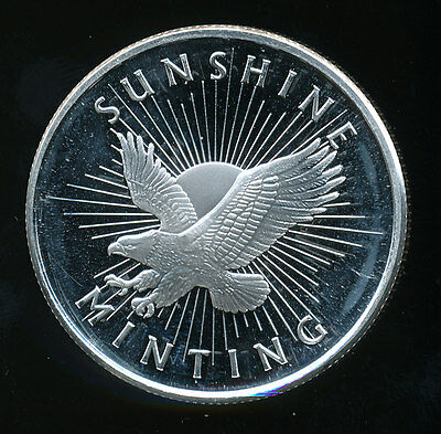 2012 Design, Sunshine Minting One Troy Ounce .999 Fine Silver Round w/ Mint Mark