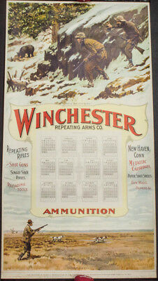 Original 1959 Winchester Repeating Arms Advertising Hunting Calendar W/1959 Tube