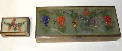 Chinese Carved Jade Gemstones Floral Three Sections Humidor Jar Box Match Holder