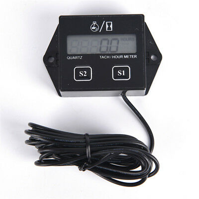 Digital Engine Tach Tachometer Hour Meter Inductive for Motorcycle Motor HC