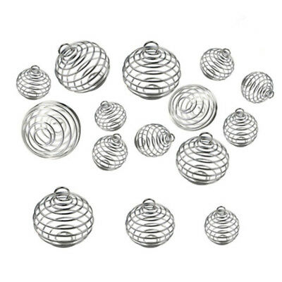 30PCS Spiral Bead Cages Pendants Silver Plated Craft Jewelry Making HC