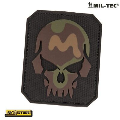 Patch in PVC SKULL Teschio Punisher 7,5 x 6 cm Militare Softair Velcrata Camo WL