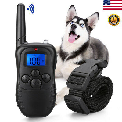 330Yard Waterproof Recharge LCD Electric Remote Dog Training Shock E-Collar New