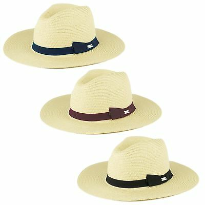 Mens Ladies Quality Straw Style Unisex Fedora Hat With Grosgrain Band