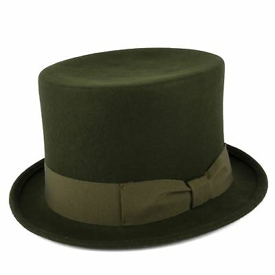 Handmade In Italy 100% Wool Top Hat With Bow Style Grosgrain Band - Olive Green