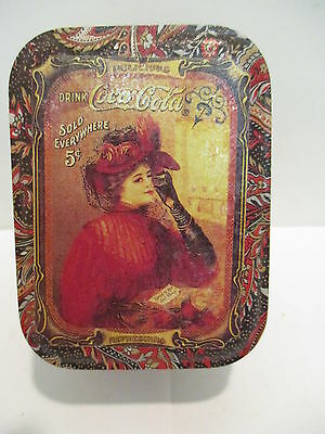 Coca Cola Small Tin Storage Box with Drink Coca Cola Lady on Lid