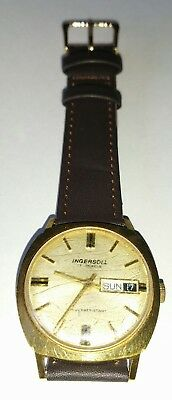Vintage Ingersoll Wrist Watch 17 Jewels Date Day Brown Strap Hand Wind Working
