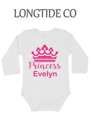 Princess, Crown,Long sleeved New Baby Vest Baby/Grow/Gift,Personalised,Mums Gift