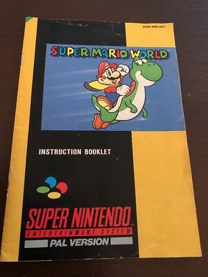 Super Nintendo SNES Game Manual * SUPER MARIO WORLD * Manual ONLY