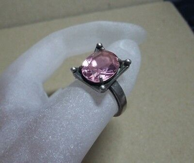 AUTHOR'S WORK ! VINTAGE STERLING SILVER RING with STONE ! 100% WEARABLE! US-7.5