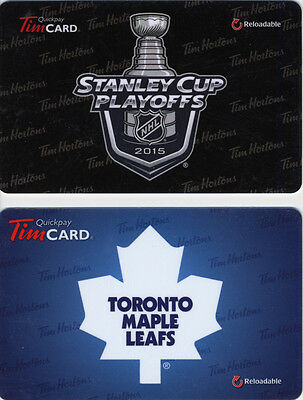 Tim Hortons NEW!!! Cool Set of 2 Gift Cards Toronto Maple Leafs NHL No $ Value