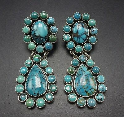 b7e174008 New FEDERICO JIMENEZ Sterling Silver TURQUOISE Cluster EARRINGS Pierced