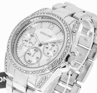 Damenuhr Excellanc Farbe silber 40mm Strass Armbanduhr analog Metallband