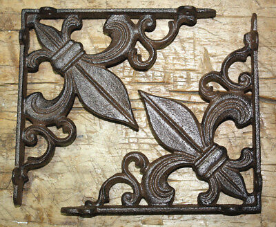 2 Cast Iron Antique Style Fleur De Lis Brackets, Garden Braces Shelf Bracket #2