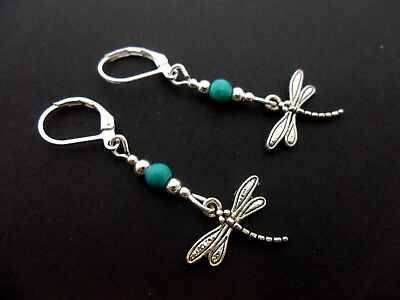 A Pair Of  Dangly Dragonfly & Turquoise Bead Leverback Hook Earrings. New.