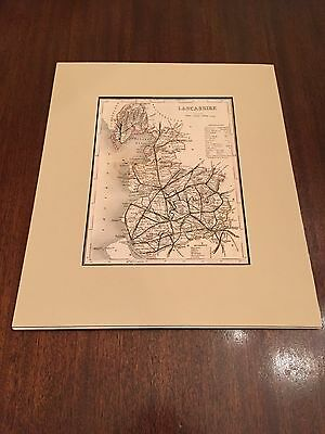 Lancashire, England Joshua Archer Matted County Map c. 1860