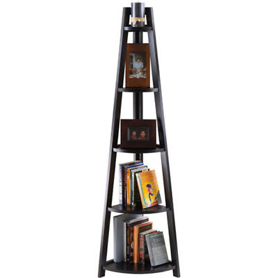 Adam 5 Tier Corner Shelf Black Bookshelf Storage