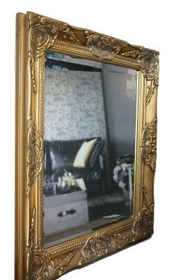 Mirror Baroque Wall White Antique Patina Wood Cottage Bathroom