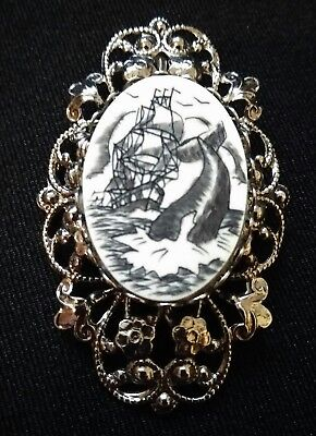 Vintage Mid Century Faux Scrimshaw Pin Brooch Tall Whaling Schooner Ship Whale