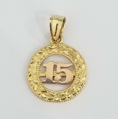 14k Rose Yellow Gold Heart Quince 15 Birthday Pendant Charm Round Vintage