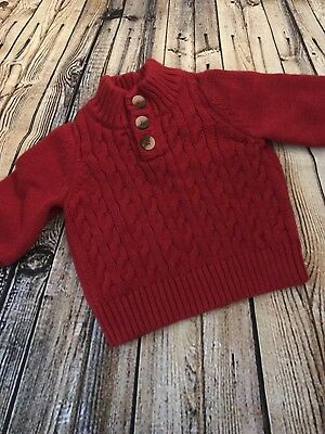 feae19580ffc BABY BOYS SWEATER Cat   Jack 3 Button Front Henley Red Infant 3-6M ...